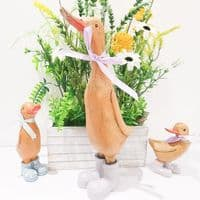 Wooden Mummy Duck In Lilac Boots